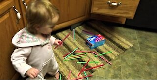 Toddler drops straws! Cute Mayhem!