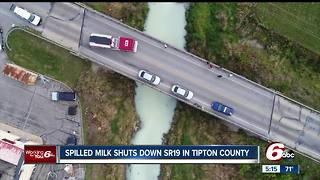 Spilled milk shuts down State Road 19 in Tipton County - Video