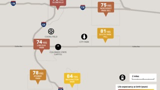 Life expectancy for Denver neighborhoods
