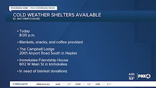 Cold weather shelters to open