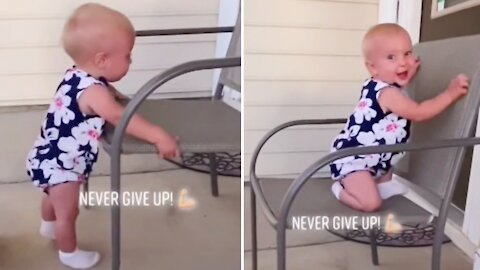 Baby shows true grit and determination to climb chair