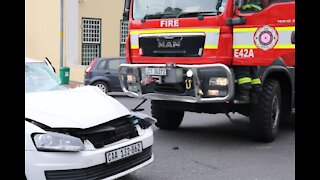 A Fire truck and a Police vehicle collided