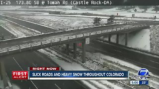 Slick roads and heavy snow throughout Colorado