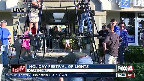 Crews get ready for Cape Coral's Holiday Festival of Lights - 7:30am live report