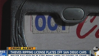 Thieves ripping license plates off San Diego cars - Video