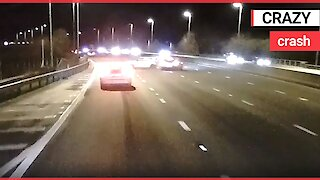 Motorway driver smashes into the back of another car