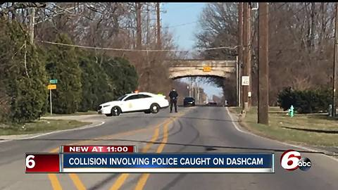 Collision involving officer with the Indianapolis Metropolitan Police Department caught on dashcam
