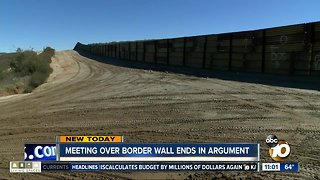 Meeting over border wall ends in argument
