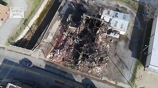 Drone Video: McAlester Building Reduced to Rubble After Fire