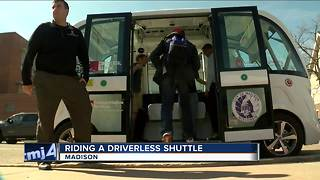 Driverless shuttle cruises through UW-Madison campus delivering free rides - Video