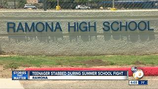 Teenager stabbed during summer school fight at Ramona High School - Video