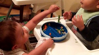 Helpful Twin Feeds Her Brother - Video