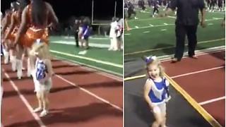 Dad Coaches the School's Dance Team. 2-Year-Old Daughter Has Been Paying Attention. - Video
