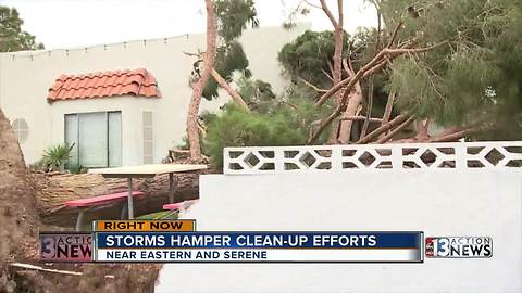 Today's storms hinder clean-up efforts