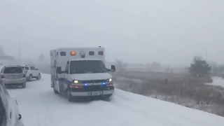 Multiple Injuries After Massive Pileup on Snow Covered Freeway Near Ames - Video