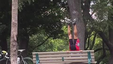 Super Strong Biker Shows Off Incredible Strength On Park Bench