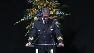 IMPD Chief Bryan Roach delivers rememberance at funeral for IMPD Deputy Chief  James Waters - Video