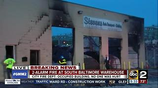 2-alarm fire at Stevens Auto Shop on E. Patapsco Avenue - Video