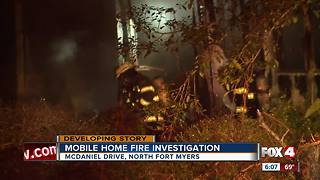 Fire destroys mobile home - Video