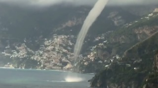 Stunning Waterspout Hits Coastline at Positano, Italy - Video