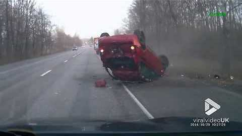 Car flips over after crashing into ditch