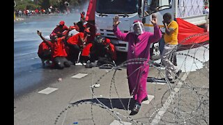 Police used stun grenades and tear gas as well as rubber bullets to disperse EFF protesters