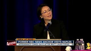 Ann Curry speaks in Naples 2 days after Matt Lauer fired from NBC - Video