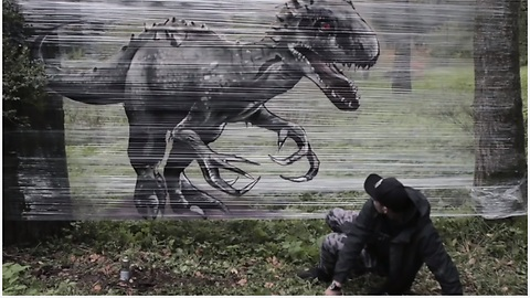 Graffiti Artist Pulls Off Epic Dinosaur Forest Art