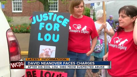 Man accused of abusing dog faces crowd outside courthouse