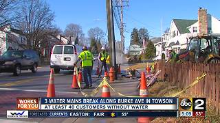 3 water main breaks along Burke Ave in Towson - Video