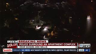 Police surround apartment complex near Sahara, Nellis - Video