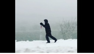 Joggers, Skiers Enjoy Snow-Covered Path in Cambridge - Video