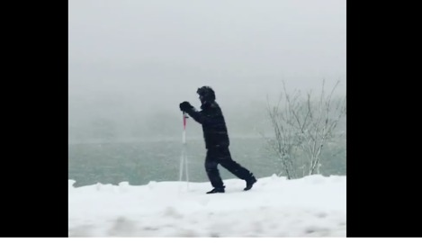 Joggers, Skiers Enjoy Snow-Covered Path in Cambridge