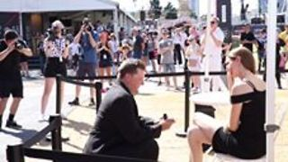 Woman Recieves Marriage Proposal in Front of Festival Crowd - Video