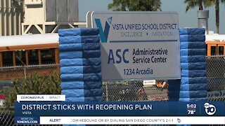 Vista Unified sticks with reopening plan