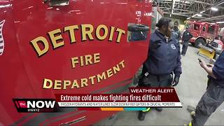 Extreme cold makes fighting fires difficult - Video