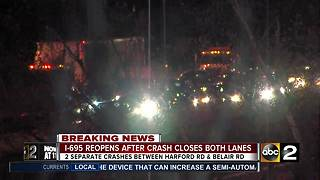 Two separate crashes causing major traffic jam on I-695 - Video