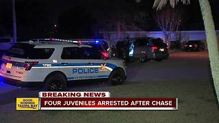 4 juveniles arrested in stolen car after trying to ram patrol car, leading St. Pete police on chase - Video
