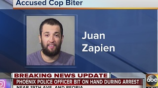 Man who tried to bite officer slapped with handcuffs - Video