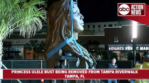 WATCH: Princess Ulele bust removed from Tampa Riverwalk