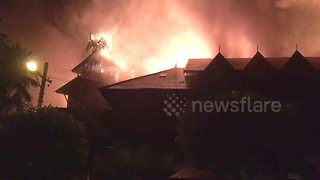 FURTHER FOOTAGE: Huge fire guts iconic Yangon hotel - Video