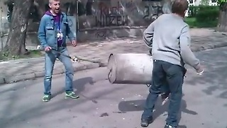 Garbage Can Turned Into Explosive Cannon