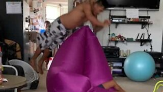 Inflatable bean bag turns into catapult!
