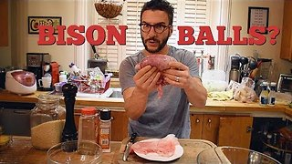 Man Demonstrates How to Cook Bison Balls