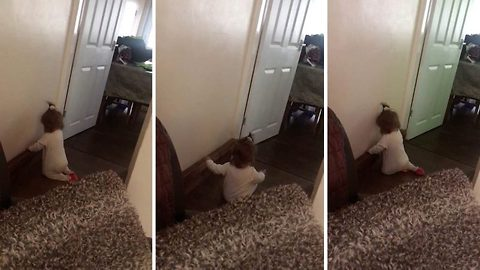 Desperate mum films mischievous toddler trying to rip of the skirting boards in their home