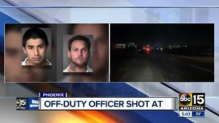 Men shot at off-duty officer, break into Phoenix home - Video