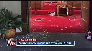 Church in Columbus, Ind. vandalized and a fire was set in the basement - Video
