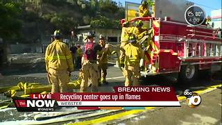 Recycling center goes up in flames - Video