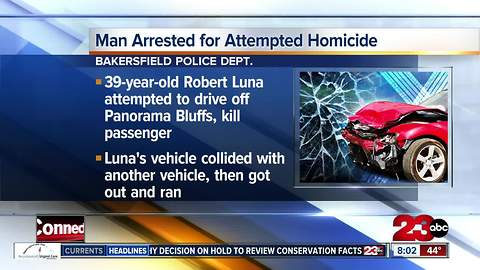 Man arrested after attempting to drive off Panorama Bluffs, kill passenger