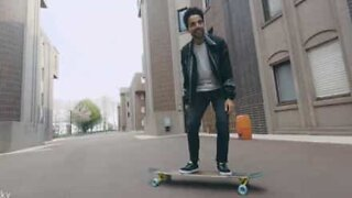 Amazing dance moves on longboard shot by drone